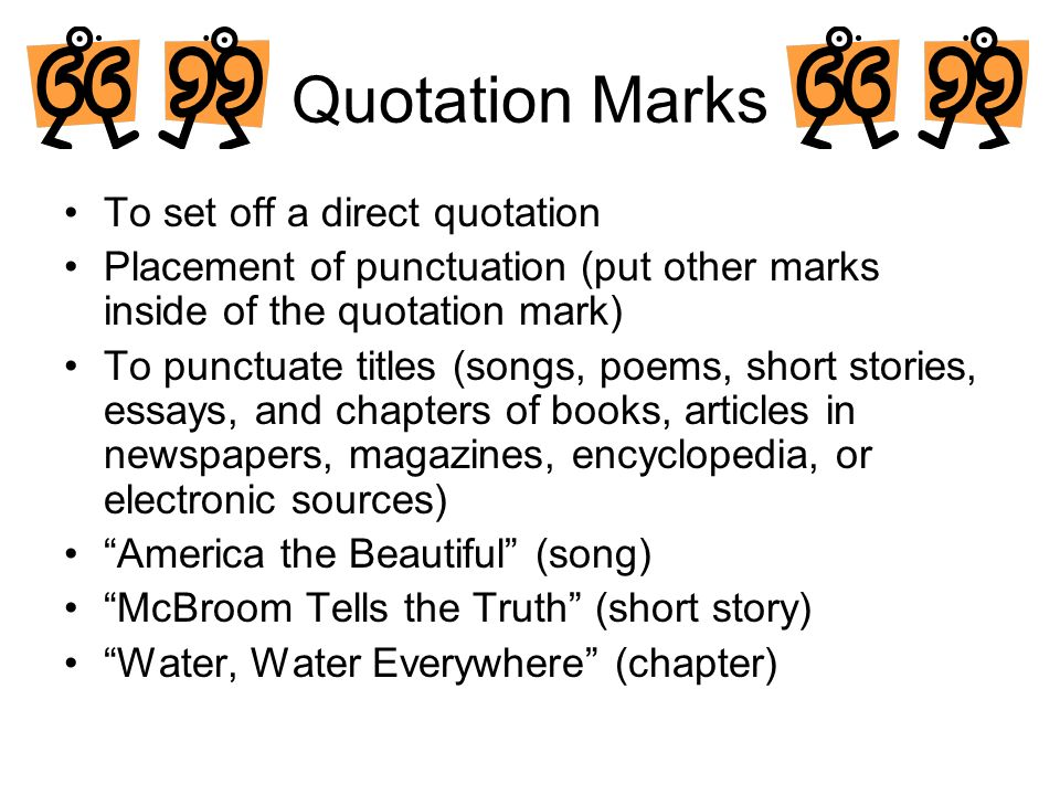 punctuation of quotes in an essay A rundown of the general rules of when and where to use quotation marks.