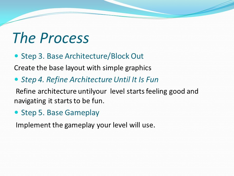 The Process Step 3.Base Architecture/Block Out Create the base layout with simple graphics Step 4.