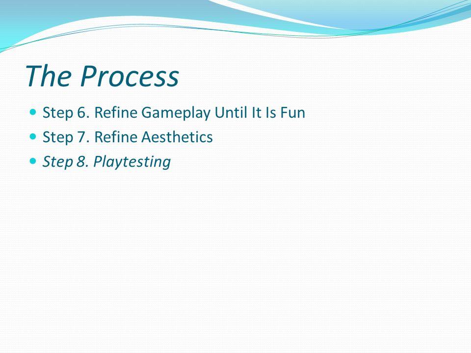 The Process Step 6. Refine Gameplay Until It Is Fun Step 7. Refine Aesthetics Step 8. Playtesting