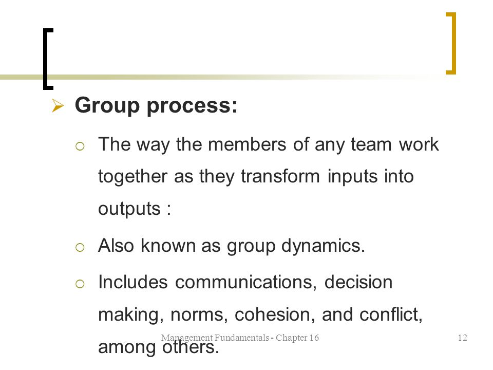 Management Fundamentals - Chapter 1612  Group process:  The way the members of any team work together as they transform inputs into outputs :  Also known as group dynamics.
