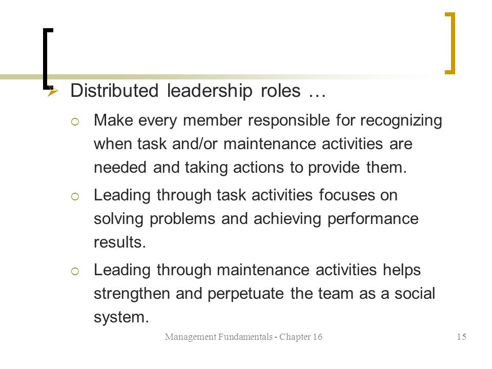 Management Fundamentals - Chapter 1615  Distributed leadership roles …  Make every member responsible for recognizing when task and/or maintenance activities are needed and taking actions to provide them.