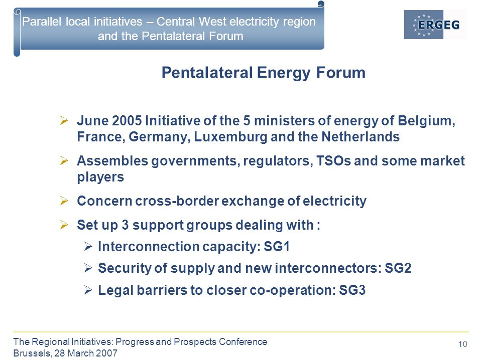 10 The Regional Initiatives: Progress and Prospects Conference Brussels, 28 March 2007 Parallel local initiatives – Central West electricity region and the Pentalateral Forum Pentalateral Energy Forum  June 2005 Initiative of the 5 ministers of energy of Belgium, France, Germany, Luxemburg and the Netherlands  Assembles governments, regulators, TSOs and some market players  Concern cross-border exchange of electricity  Set up 3 support groups dealing with :  Interconnection capacity: SG1  Security of supply and new interconnectors: SG2  Legal barriers to closer co-operation: SG3