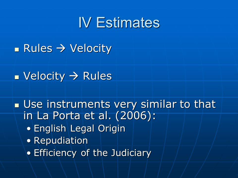 IV Estimates Rules  Velocity Rules  Velocity Velocity  Rules Velocity  Rules Use instruments very similar to that in La Porta et al.