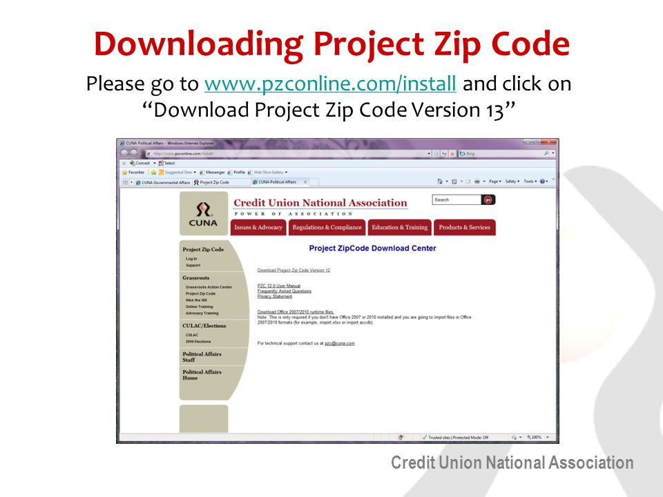 Credit Union National Association Downloading Project Zip Code Please go to   and click on Download Project Zip Code Version 13