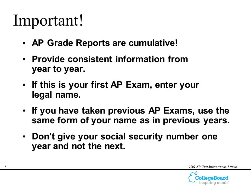 62009 AP ® Preadministration Session Important. AP Grade Reports are cumulative.