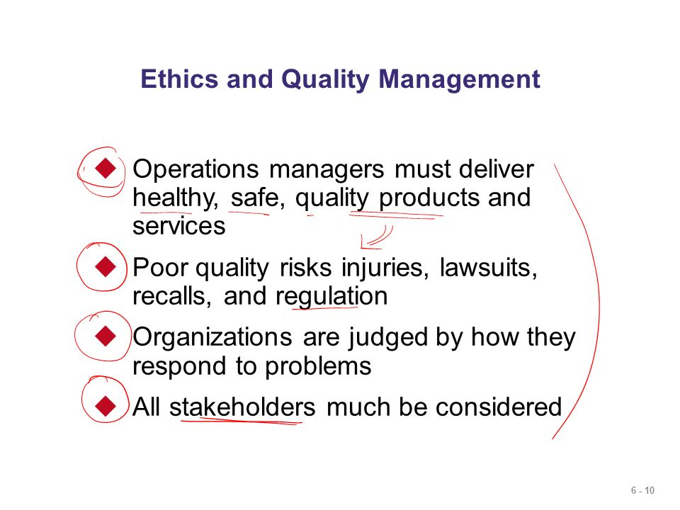 6 - 10 Ethics and Quality Management  Operations managers must deliver healthy, safe, quality products and services  Poor quality risks injuries, la