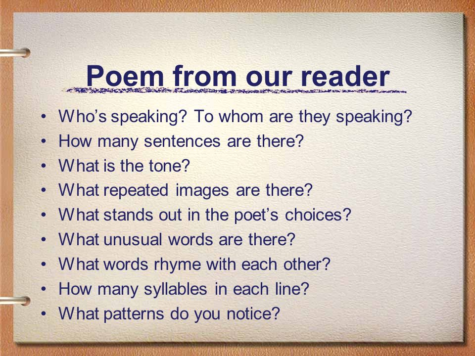 Poem from our reader Who's speaking. To whom are they speaking.
