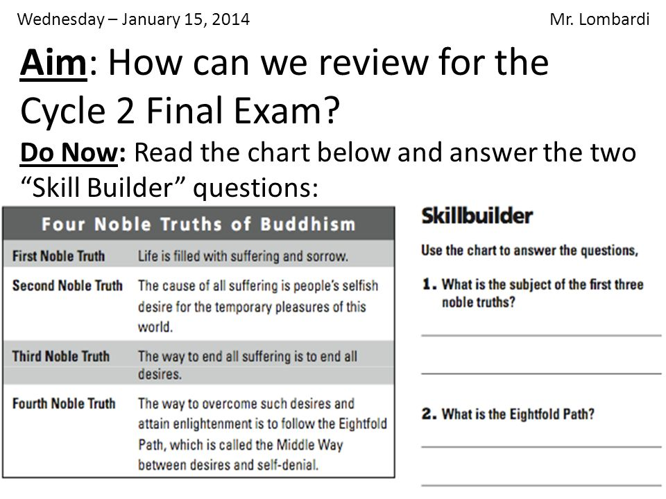 Aim: How can we review for the Cycle 2 Final Exam.