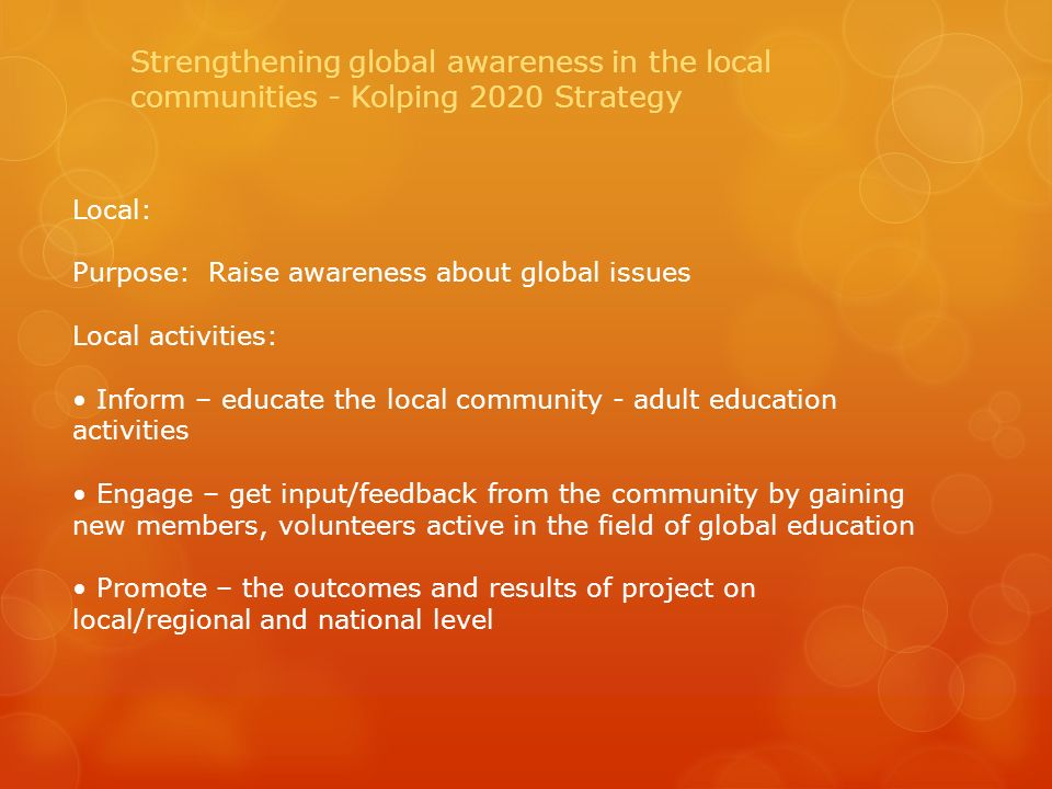 Local: Purpose: Raise awareness about global issues Local activities: Inform – educate the local community - adult education activities Engage – get input/feedback from the community by gaining new members, volunteers active in the field of global education Promote – the outcomes and results of project on local/regional and national level