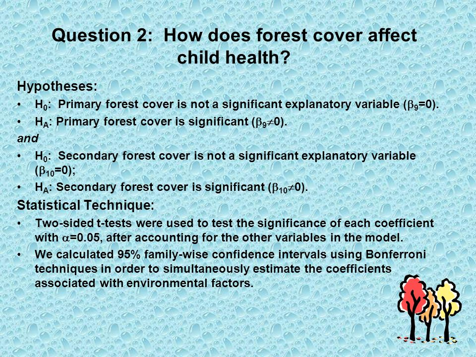 Question 2: How does forest cover affect child health.
