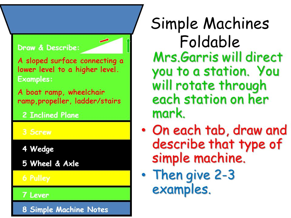 Simple Machines Foldable Mrs.Garris will direct you to a station.