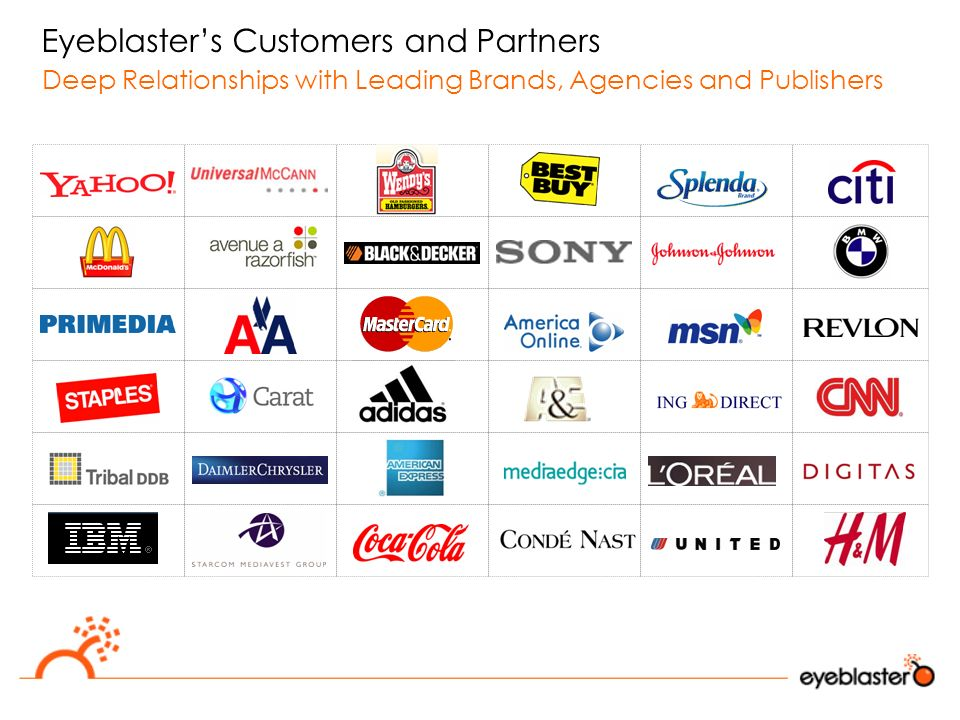 Eyeblaster's Customers and Partners Deep Relationships with Leading Brands, Agencies and Publishers