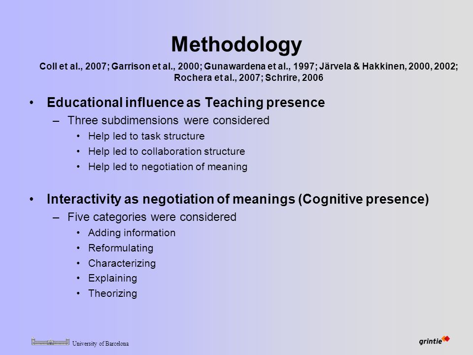 University of Barcelona Methodology Educational influence as Teaching presence –Three subdimensions were considered Help led to task structure Help led to collaboration structure Help led to negotiation of meaning Interactivity as negotiation of meanings (Cognitive presence) –Five categories were considered Adding information Reformulating Characterizing Explaining Theorizing Coll et al., 2007; Garrison et al., 2000; Gunawardena et al., 1997; Järvela & Hakkinen, 2000, 2002; Rochera et al., 2007; Schrire, 2006