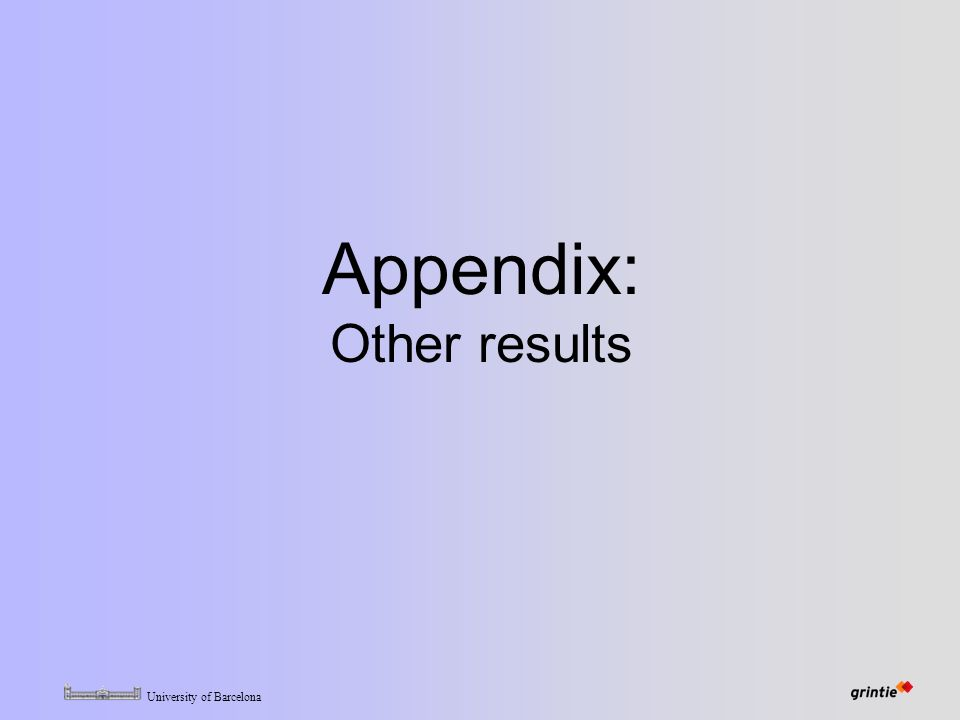University of Barcelona Appendix: Other results