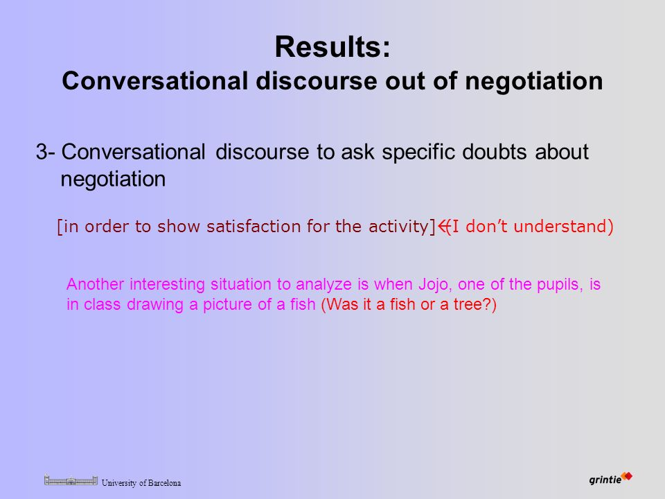 University of Barcelona Results: Conversational discourse out of negotiation 3- Conversational discourse to ask specific doubts about negotiation [in order to show satisfaction for the activity]  (I don't understand) Another interesting situation to analyze is when Jojo, one of the pupils, is in class drawing a picture of a fish (Was it a fish or a tree )