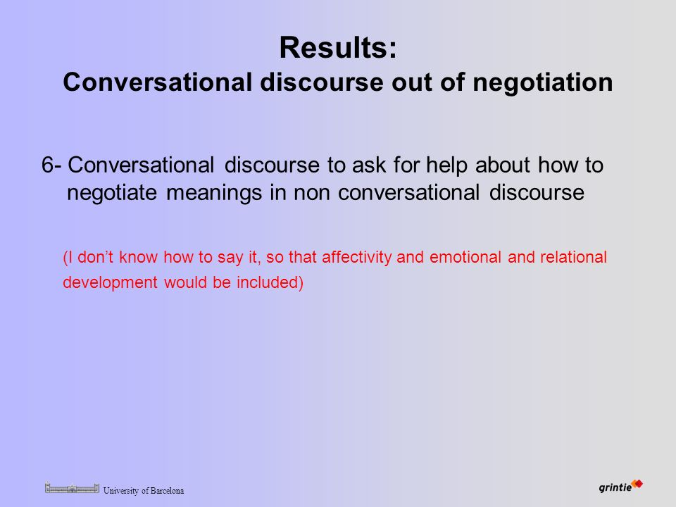 University of Barcelona Results: Conversational discourse out of negotiation 6- Conversational discourse to ask for help about how to negotiate meanings in non conversational discourse (I don't know how to say it, so that affectivity and emotional and relational development would be included)