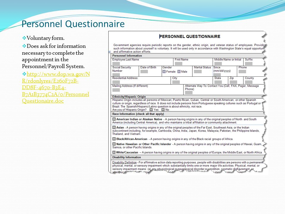 questionnaire for new employees