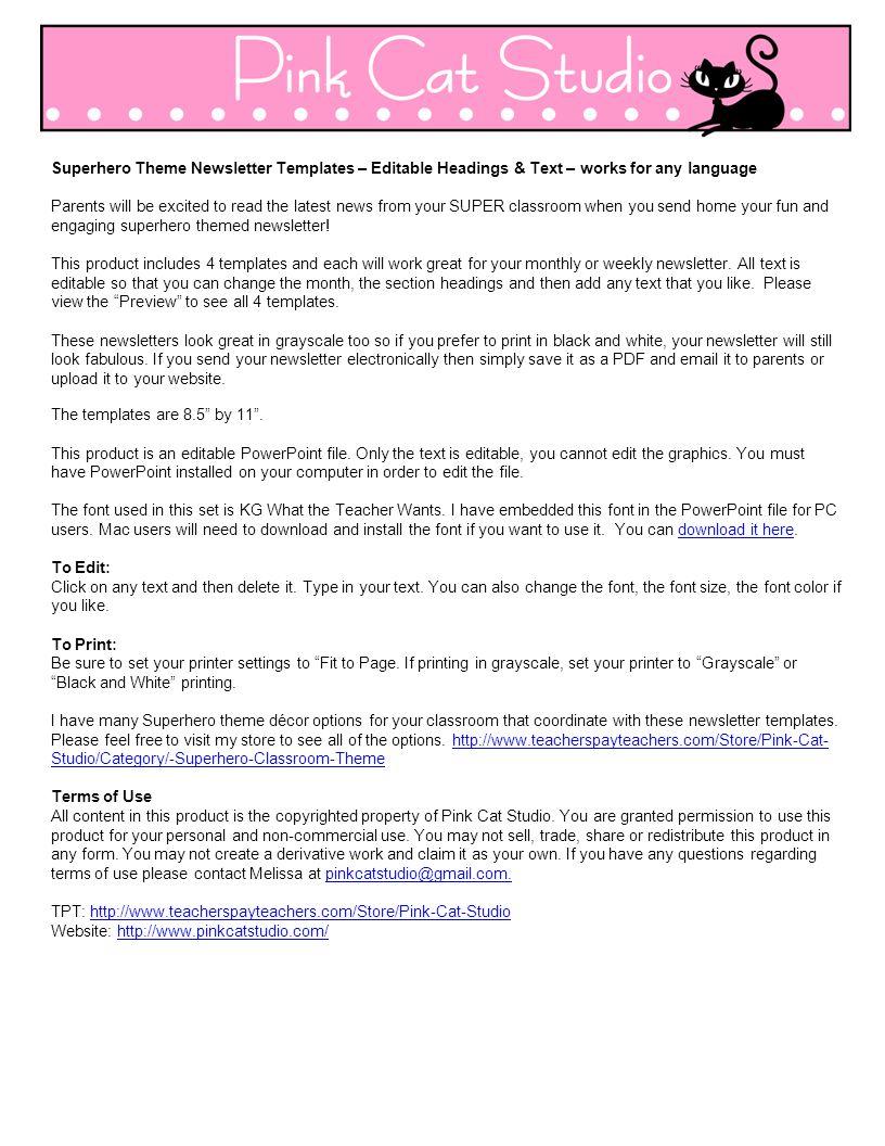 Superhero Theme Newsletter Templates – Editable Headings & Text ...