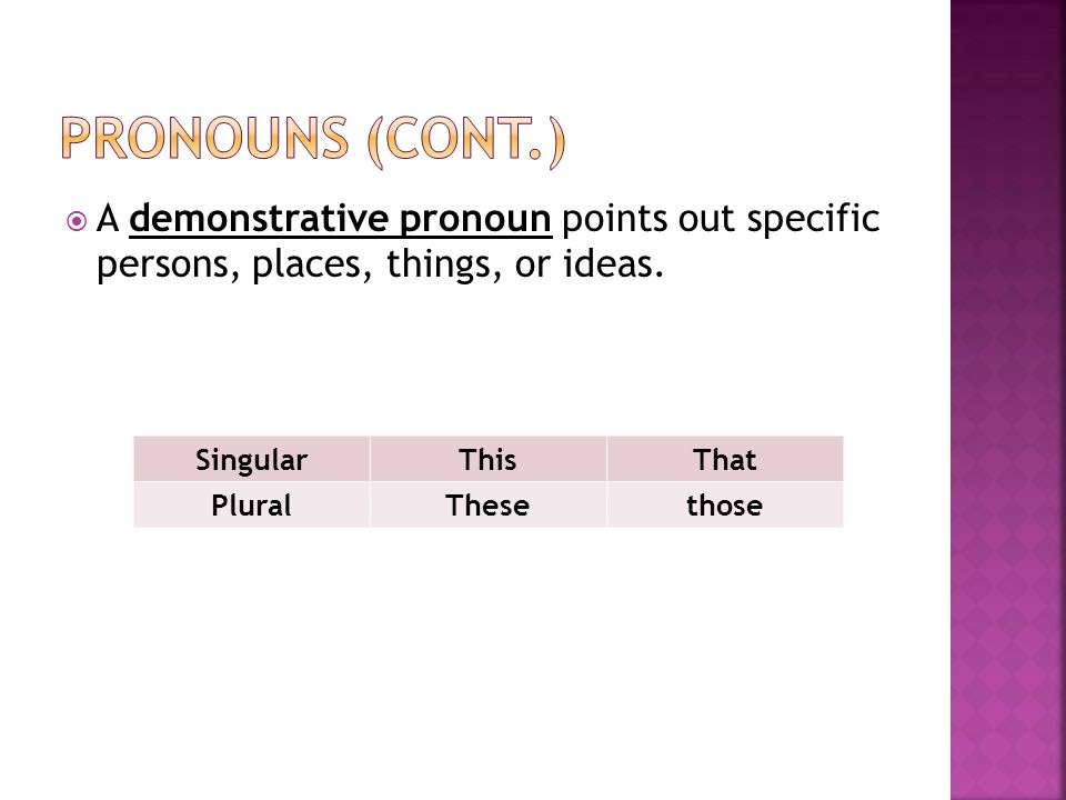  A demonstrative pronoun points out specific persons, places, things, or ideas.
