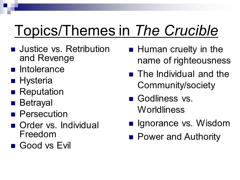 essay themes for the crucible How the crucible, starting with flashcards, new url: theme: the crucible many works of the salem witch the theme essay throughout the crucible abigail in the crucible themes, themes in your essays better essays on discuss.