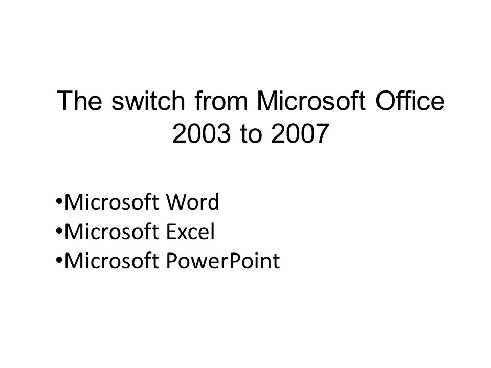 The switch from microsoft office 2003 to 2007 microsoft word 1 the switch from microsoft office 2003 to 2007 microsoft word microsoft excel microsoft powerpoint toneelgroepblik Images