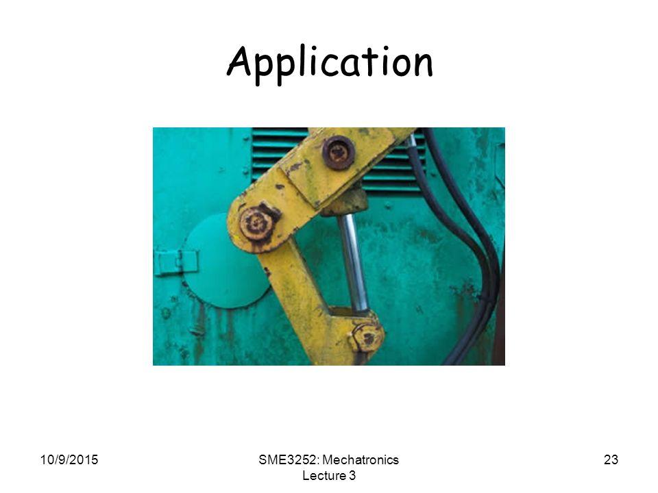 10/9/2015SME3252: Mechatronics Lecture 3 23 Application