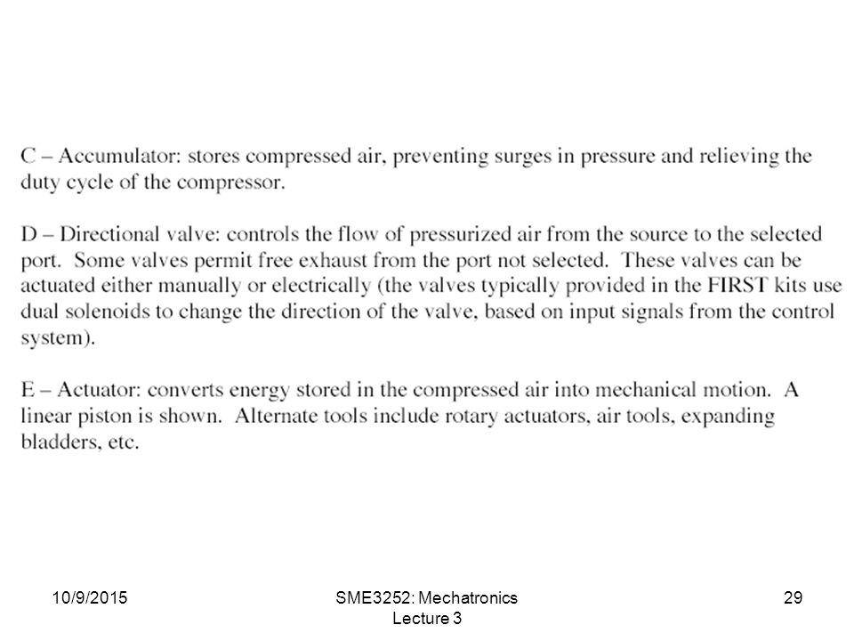 10/9/2015SME3252: Mechatronics Lecture 3 29