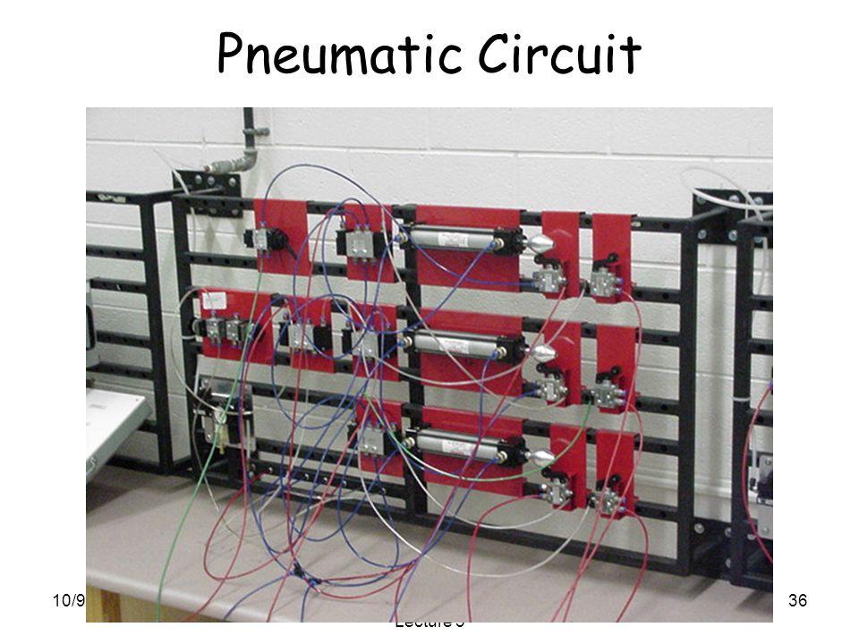 10/9/2015SME3252: Mechatronics Lecture 3 36 Pneumatic Circuit