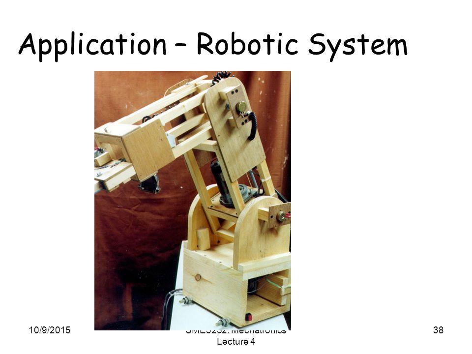 10/9/2015SME3252: Mechatronics Lecture 4 38 Application – Robotic System