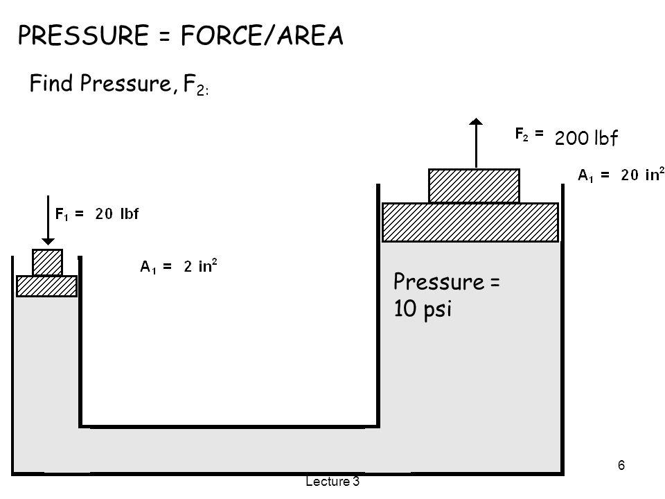 10/9/2015SME3252: Mechatronics Lecture 3 6 PRESSURE = FORCE/AREA Find Pressure, F 2: Pressure = 10 psi 200 lbf