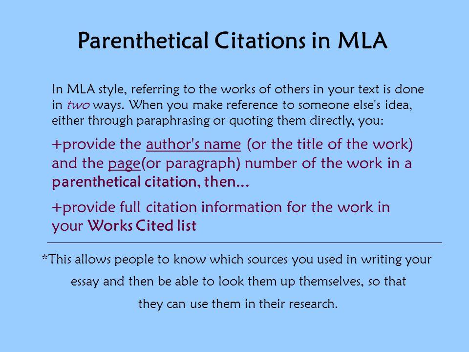 parenthetical citation in essay