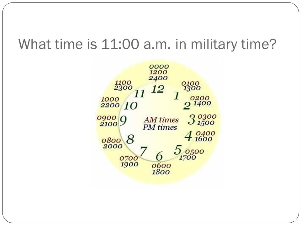 What time is 11:00 a.m. in military time