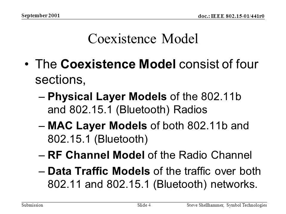 doc.: IEEE /441r0 Submission September 2001 Steve Shellhammer, Symbol Technologies Slide 4 Coexistence Model The Coexistence Model consist of four sections, –Physical Layer Models of the b and (Bluetooth) Radios –MAC Layer Models of both b and (Bluetooth) –RF Channel Model of the Radio Channel –Data Traffic Models of the traffic over both and (Bluetooth) networks.