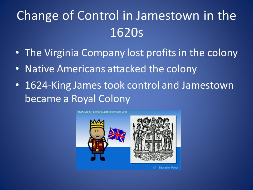 Change of Control in Jamestown in the 1620s The Virginia Company lost profits in the colony Native Americans attacked the colony 1624-King James took control and Jamestown became a Royal Colony