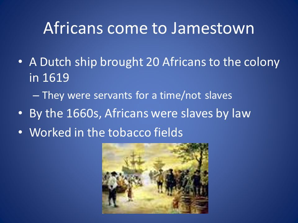 Africans come to Jamestown A Dutch ship brought 20 Africans to the colony in 1619 – They were servants for a time/not slaves By the 1660s, Africans were slaves by law Worked in the tobacco fields