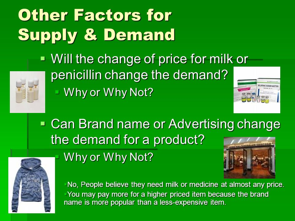 Other Factors for Supply & Demand  Will the change of price for milk or penicillin change the demand.
