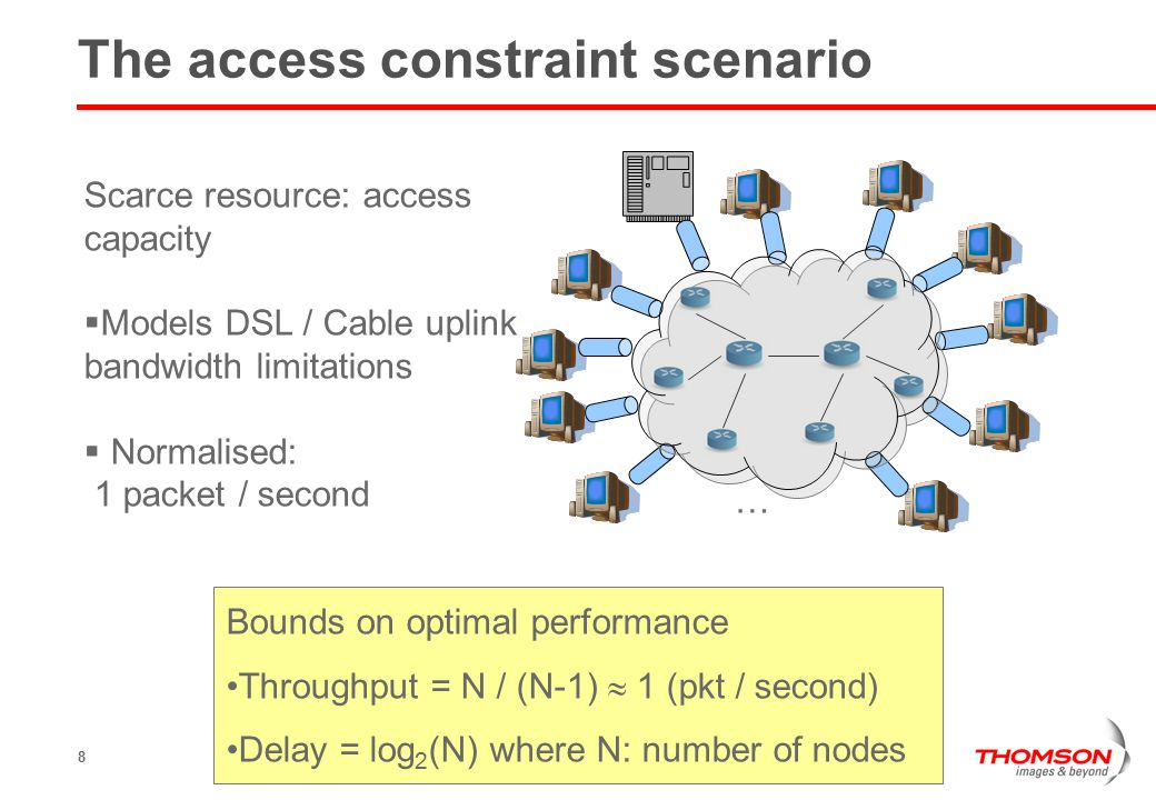 8 The access constraint scenario … Scarce resource: access capacity  Models DSL / Cable uplink bandwidth limitations  Normalised: 1 packet / second Bounds on optimal performance Throughput = N / (N-1)  1 (pkt / second) Delay = log 2 (N) where N: number of nodes