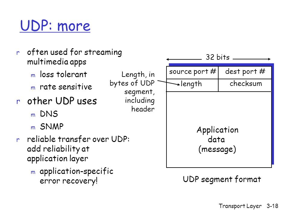 Transport Layer 3-18 UDP: more r often used for streaming multimedia apps m loss tolerant m rate sensitive r other UDP uses m DNS m SNMP r reliable transfer over UDP: add reliability at application layer m application-specific error recovery.
