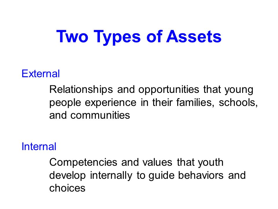 Two Types of Assets External Relationships and opportunities that young people experience in their families, schools, and communities Internal Competencies and values that youth develop internally to guide behaviors and choices