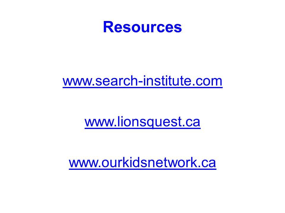 Resources www.search-institute.com www.lionsquest.ca www.ourkidsnetwork.ca