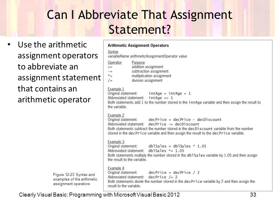 Abbreviate assignment