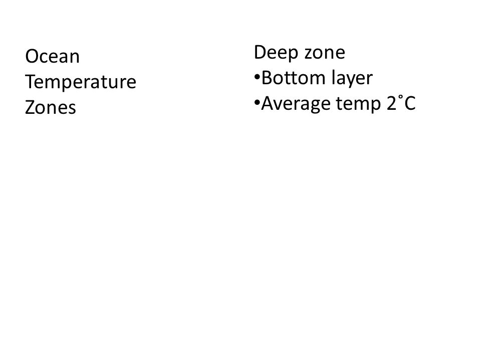 Deep zone Bottom layer Average temp 2˚C Ocean Temperature Zones