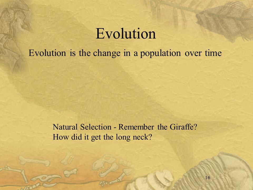 16 Evolution Evolution is the change in a population over time Natural Selection - Remember the Giraffe.