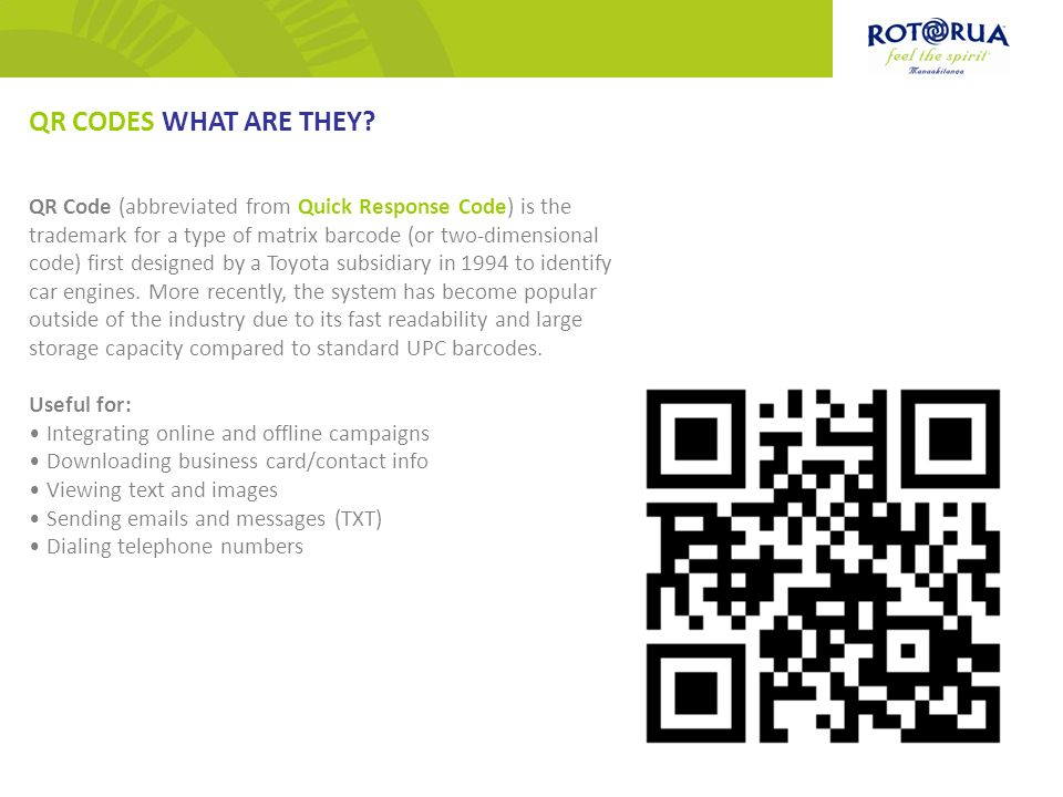 QR CODES FOR BUSINESS. QR Code (abbreviated from Quick Response ...
