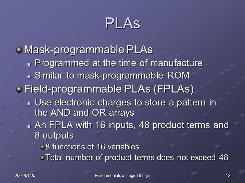 122004/04/05Fundamentals of Logic Design PLAs Mask-programmable PLAs Programmed at the time of manufacture Programmed at the time of manufacture Similar to mask-programmable ROM Similar to mask-programmable ROM Field-programmable PLAs (FPLAs) Use electronic charges to store a pattern in the AND and OR arrays Use electronic charges to store a pattern in the AND and OR arrays An FPLA with 16 inputs, 48 product terms and 8 outputs An FPLA with 16 inputs, 48 product terms and 8 outputs 8 functions of 16 variables Total number of product terms does not exceed 48