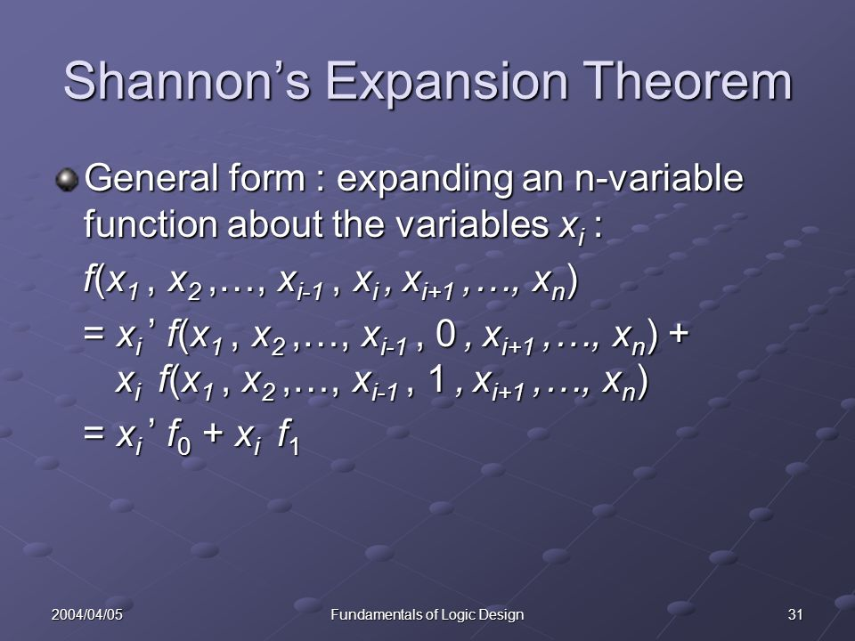 312004/04/05Fundamentals of Logic Design Shannon's Expansion Theorem General form : expanding an n-variable function about the variables x i : f(x 1, x 2,…, x i-1, x i, x i+1,…, x n ) f(x 1, x 2,…, x i-1, x i, x i+1,…, x n ) = x i ' f(x 1, x 2,…, x i-1, 0, x i+1,…, x n ) + x i f(x 1, x 2,…, x i-1, 1, x i+1,…, x n ) = x i ' f(x 1, x 2,…, x i-1, 0, x i+1,…, x n ) + x i f(x 1, x 2,…, x i-1, 1, x i+1,…, x n ) = x i ' f 0 + x i f 1 = x i ' f 0 + x i f 1