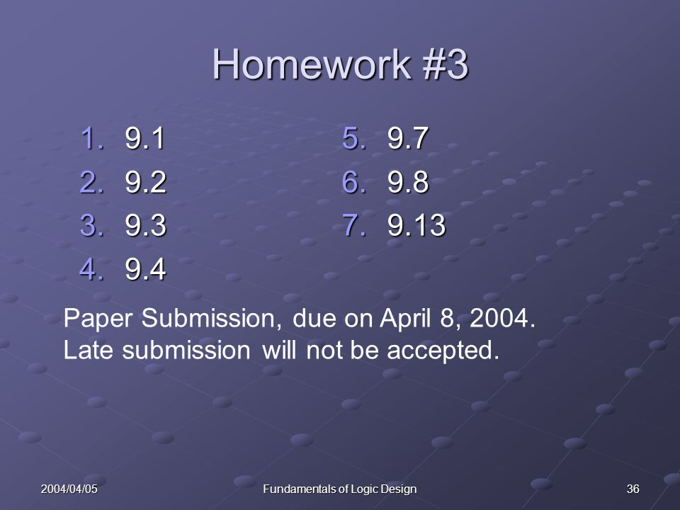 362004/04/05Fundamentals of Logic Design Homework # Paper Submission, due on April 8, 2004.
