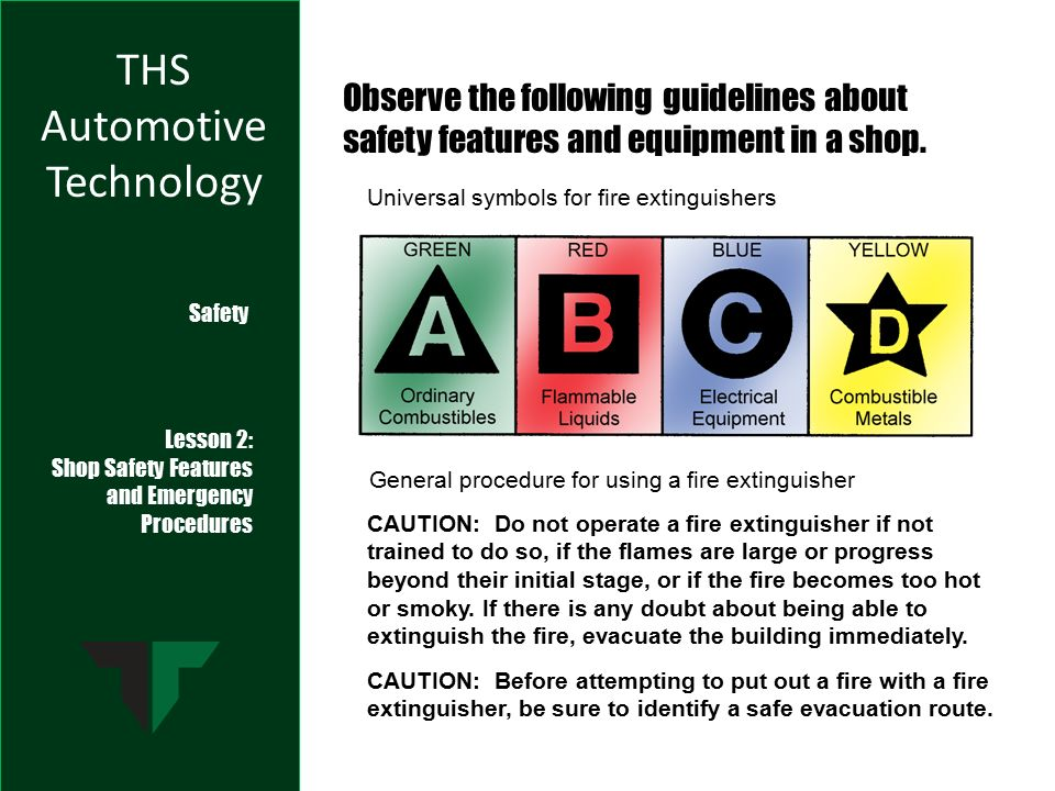 Ths Automotive Technology Safety Lesson 2 Shop Safety Features And