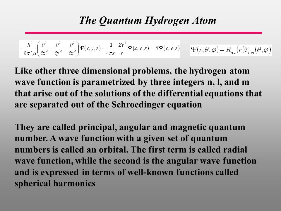 The Quantum Hydrogen Atom Like other three dimensional problems, the hydrogen atom wave function is parametrized by three integers n, l, and m that arise out of the solutions of the differential equations that are separated out of the Schroedinger equation They are called principal, angular and magnetic quantum number.