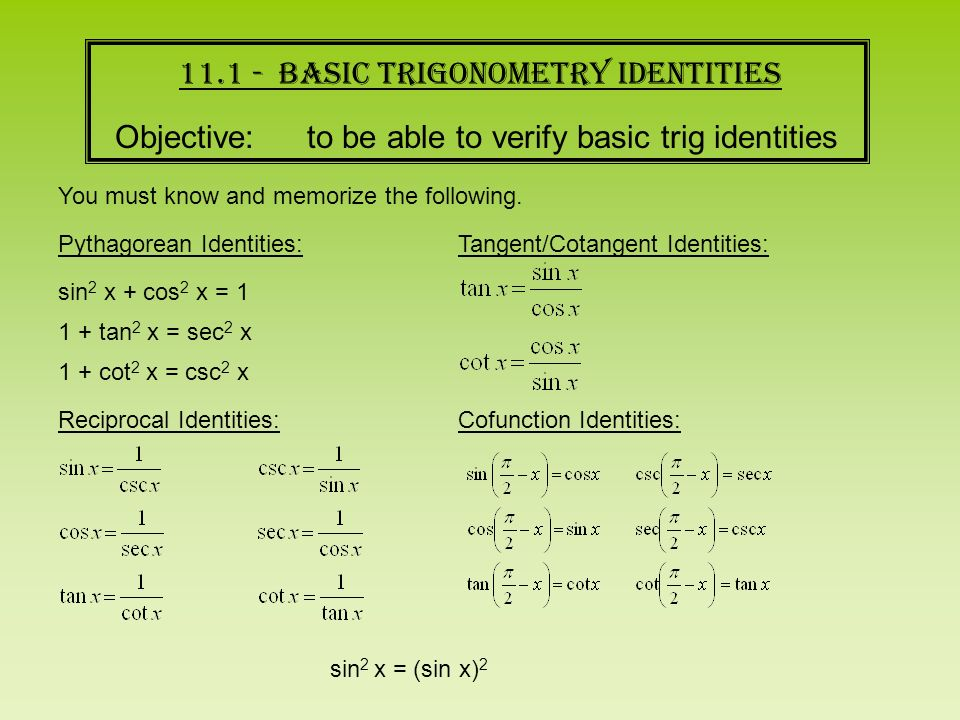 WARMUP Prove sin 2 x cos 2 x 1 This is one of 3 Pythagorean – Proving Trigonometric Identities Worksheet